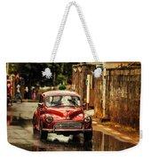 Red Retromobile. Morris Minor Weekender Tote Bag