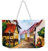 Red Roof - Palette Knife Oil Painting On Canvas By Leonid Afremov Weekender Tote Bag