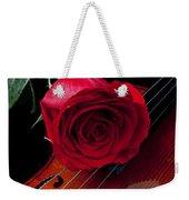 Red Rose With Violin Weekender Tote Bag