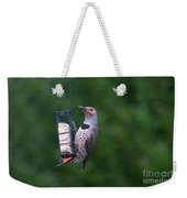 Red-shafted Northern Flicker On Suet Weekender Tote Bag