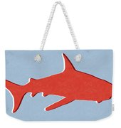 Red Shark Weekender Tote Bag by Linda Woods