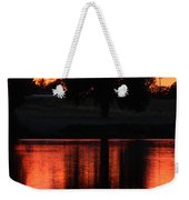 Red Sky Reflection With Tree Weekender Tote Bag