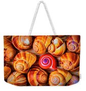 Red Snail Shell Weekender Tote Bag