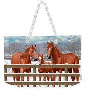 Red Sorrel Quarter Horses In Snow Weekender Tote Bag by Crista Forest