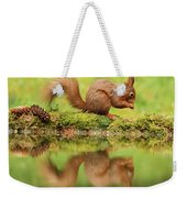 Red Squirrel Reflection Weekender Tote Bag