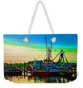 Red Sunrise And The Shrimp Boat Weekender Tote Bag