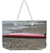 Red Surf Board On A Rocky Beach Weekender Tote Bag