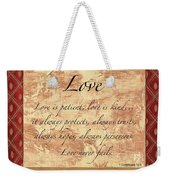 Red Traditional Love Weekender Tote Bag by Debbie DeWitt
