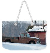 Red Truck In The Snow Weekender Tote Bag