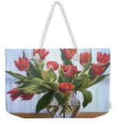Red Tulips, Glass Vase Weekender Tote Bag