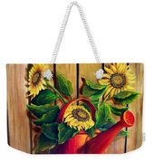 Red Watering Can With  Sunflowers.  Sold Weekender Tote Bag