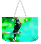 Red Wing Blackbird Perching And Singing Weekender Tote Bag