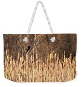 Red Winged Blackbird On Cattails Weekender Tote Bag