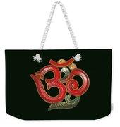 Red Wooden Om Green Mandala Weekender Tote Bag