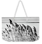 Reeds On A Frozen Lake Weekender Tote Bag