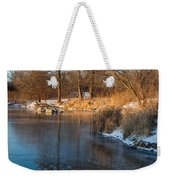 Reflecting In Threes - Three Trees By The Lake Weekender Tote Bag