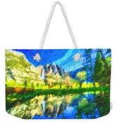 Reflection In Merced River Of Yosemite Waterfalls Weekender Tote Bag