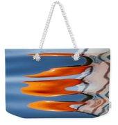 Water Reflection Of Orange Blobs And Black Zig Zagging Lines Weekender Tote Bag