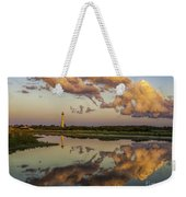 Reflection Of Clouds And Lighthouse Weekender Tote Bag