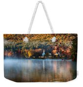 Reflection Of Little White Church With Fall Foliage Weekender Tote Bag