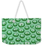 Reflection Of Waving Man In Water Droplets On Green Weekender Tote Bag