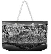 Reflection Of Wizard Island Crater Lake B W Weekender Tote Bag