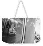 Reflections In New York City Subway Weekender Tote Bag by Ranjay Mitra
