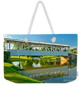 Reflections Of The Halls Mill Covered Bridge Weekender Tote Bag