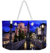Reflections On Wet Triple Bridge After Rain At Dawn With Lights  Weekender Tote Bag