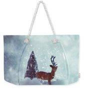 Reindeer In Glass Snow Globe  Weekender Tote Bag