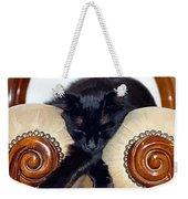Relaxed Black Cat Sleeping Between Two Chairs Weekender Tote Bag