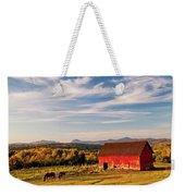 Red Barn Autumn Landscape Weekender Tote Bag
