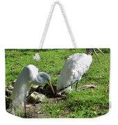 Resting Wood Stork And White Egret Weekender Tote Bag