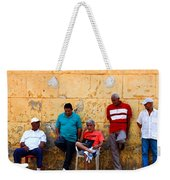 Retired Men And Yellow Wall Cartegena Weekender Tote Bag