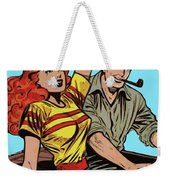 Retro Couple On Boat Comic Style Weekender Tote Bag
