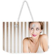 Retro Fashion Model Looking At Copyspace Weekender Tote Bag by Jorgo Photography - Wall Art Gallery