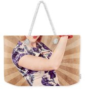 Retro Pinup Boxing Girl Fist Pumping Glove Hand  Weekender Tote Bag