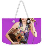 Retro Receptionist On Vintage Telephone. Call Us Weekender Tote Bag