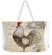 Retro Style Beige Chicken Rooster Farm House Weekender Tote Bag