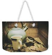 Retro Vintage Toned Tea Still Life In Crate Weekender Tote Bag