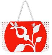 Retro White Flower Weekender Tote Bag