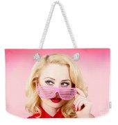 Retro Woman Model Wearing Summer Sun Glasses Weekender Tote Bag
