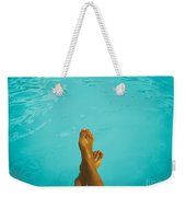 Retro Young Girl Relaxing Her Feet At Swimming Pool Weekender Tote Bag