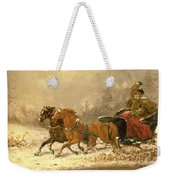 Returning Home In Winter Weekender Tote Bag by Charles Ferdinand De La Roche