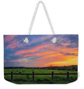 Retzer Nature Center - Summer Sunset Over Field And Fence Weekender Tote Bag