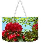 Rhodies Art Prints Red Rhododendron Floral Garden Landscape Baslee Weekender Tote Bag