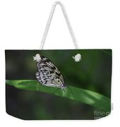 Rice Paper Butterfly On A Long Daylily Leaf Weekender Tote Bag