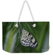 Rice Paper Butterfly Sitting On Green Foliage Weekender Tote Bag
