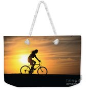 Riding At Sunset Weekender Tote Bag