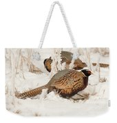 Ring-necked Pheasant Hunting In The Snow Weekender Tote Bag